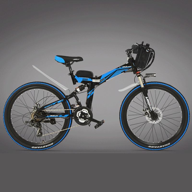 K660 marca Lankelsisi de marco de acero al carbono 21 velocidades 26 pulgadas 36/48 V 240 w plegable bicicleta eléctrica freno de disco E bicicleta
