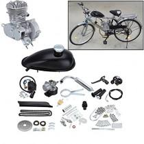 Ambienceo Motor Bicicleta Conversión Kit para Bicicleta Motorizada (50cc Plata)