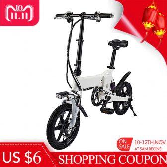 Bicicleta eléctrica plegable inteligente sin impuestos 14 pulgadas neumático de goma inflable...