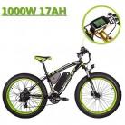 eBike_RICHBIT 022 Bicicleta eléctrica Fat Tire neumático Bicicleta Cruiser Ciclismo 1000W verde negro