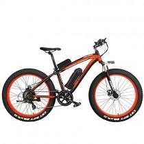 Bicicleta T750Plus 27 Speed 26 * 4.0 Fat, bicicleta eléctrica plegable 500W naranja