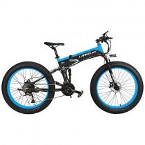 LANKELEISI T750Plus 27 velocidades 1000W Bicicleta Eléctrica Plegable 26 * 4.0 azul