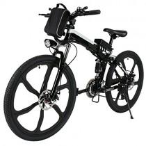Teamyy Bicicleta Plegable de Montaña con Batería de Iones de Litio Bicicleta Eléctrica de 26 Pulgadas